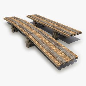 3d model 2 old wooden bridge