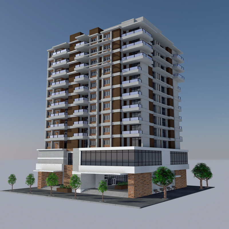 - modern apartment tile 3d model