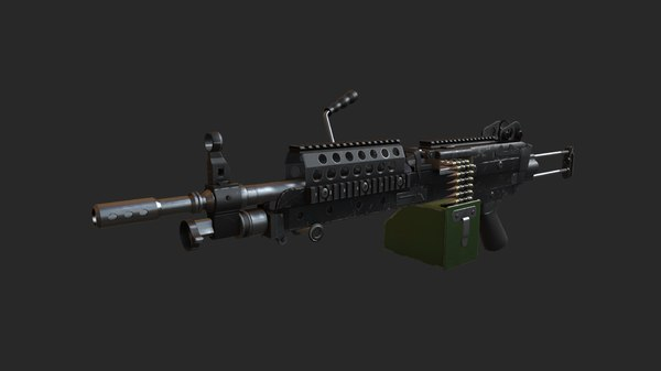 3d m249 machine gun 4 model