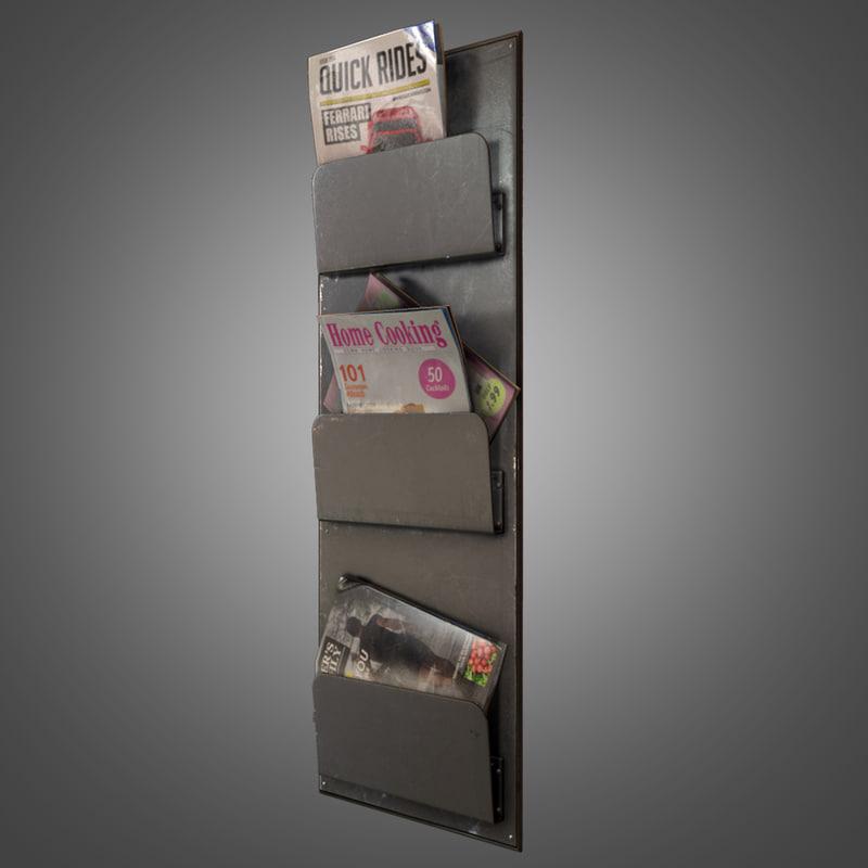 3d magazine rack - pbr model