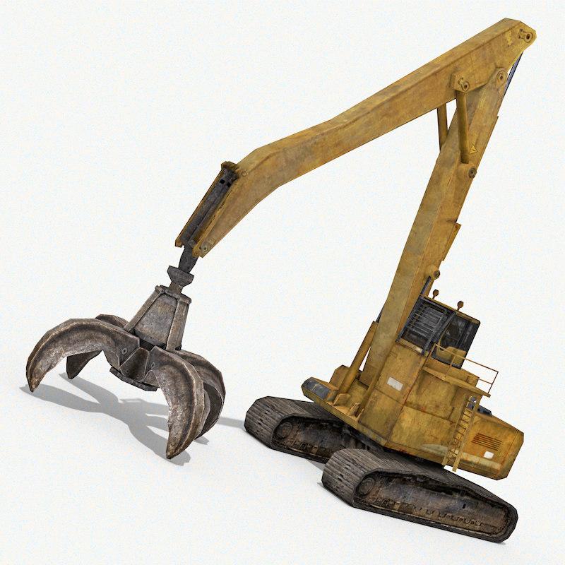 crawler grabbing crane 3d 3ds