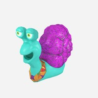 cartoonish low-poly snail 3d obj