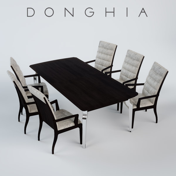 3d model of fiona arm chair dining table