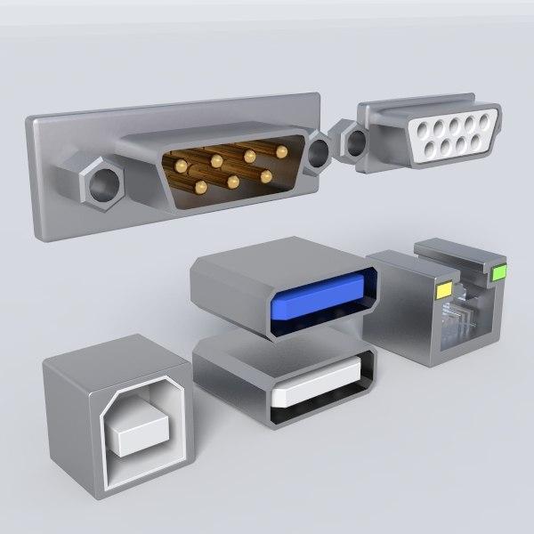 3d computer ports model