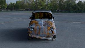 3d rusty 1957 fiat 500