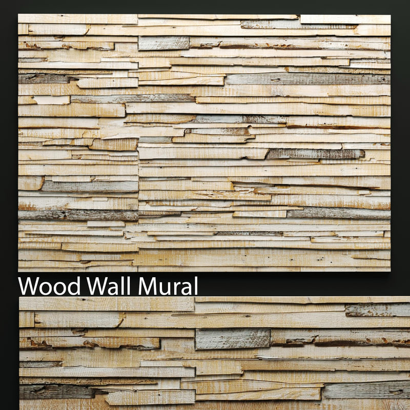 art wall wooden planks 3d model