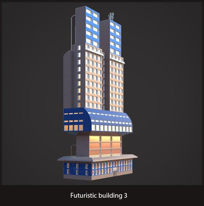 futuristic sci-fi building 3d obj