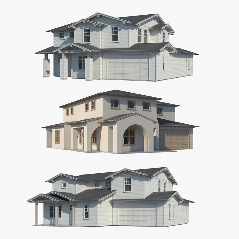 3d model family houses