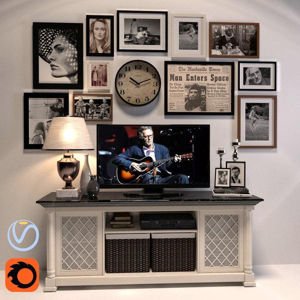 tv console decorative set 3d model