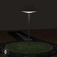 3d roundabout night lighting