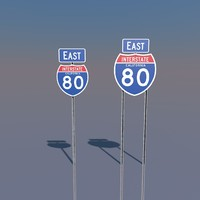 3D California Interstate 80 Signs