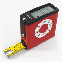 digital tape measure red 3d model