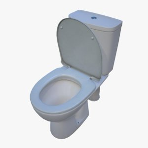 3d model real-time ready toilet pbr