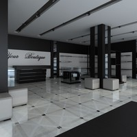 interior shoes clothing boutiquer 3d model