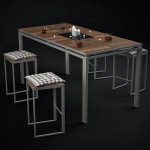 morrison table chairs accessories 3d model