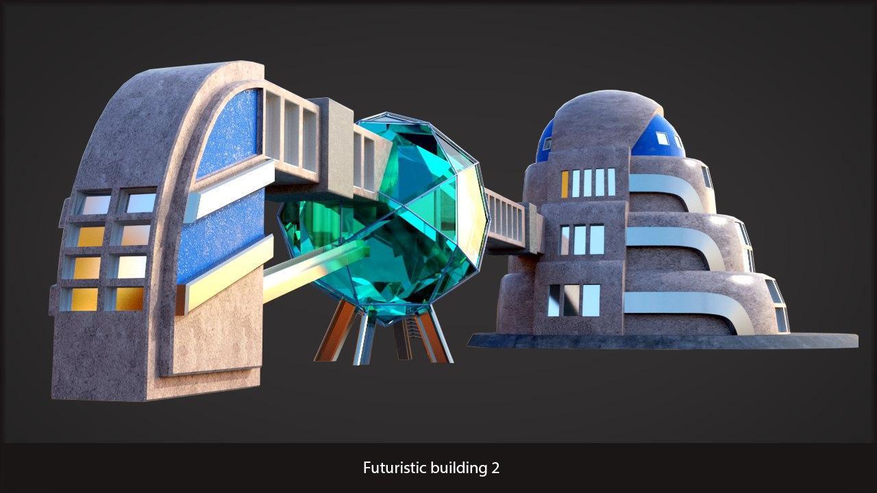 3d futuristic sci-fi building