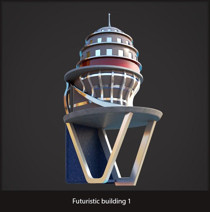 3d model futuristic sci-fi building