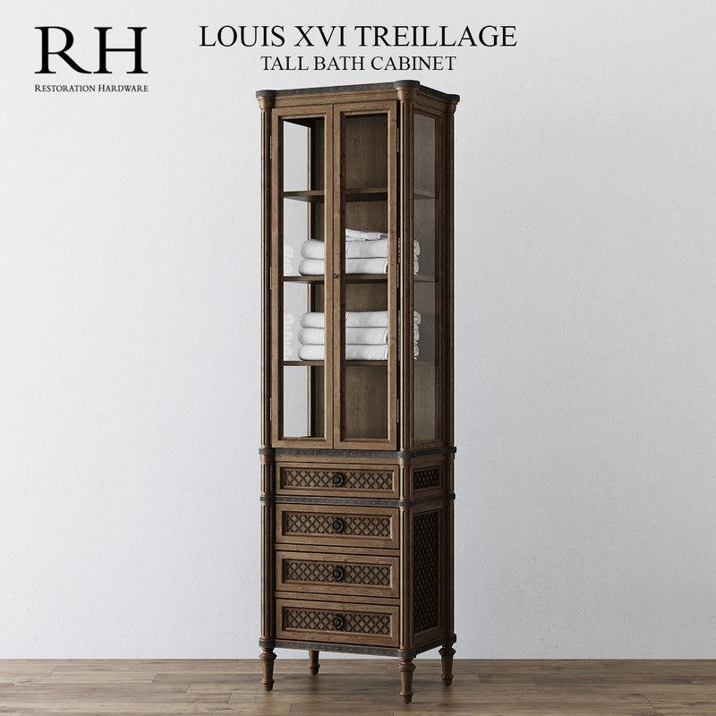 3d model tall bath cabinet louis xvi