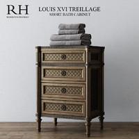 RH LOUIS XVI TREILLAGE SHORT BATH CABINET