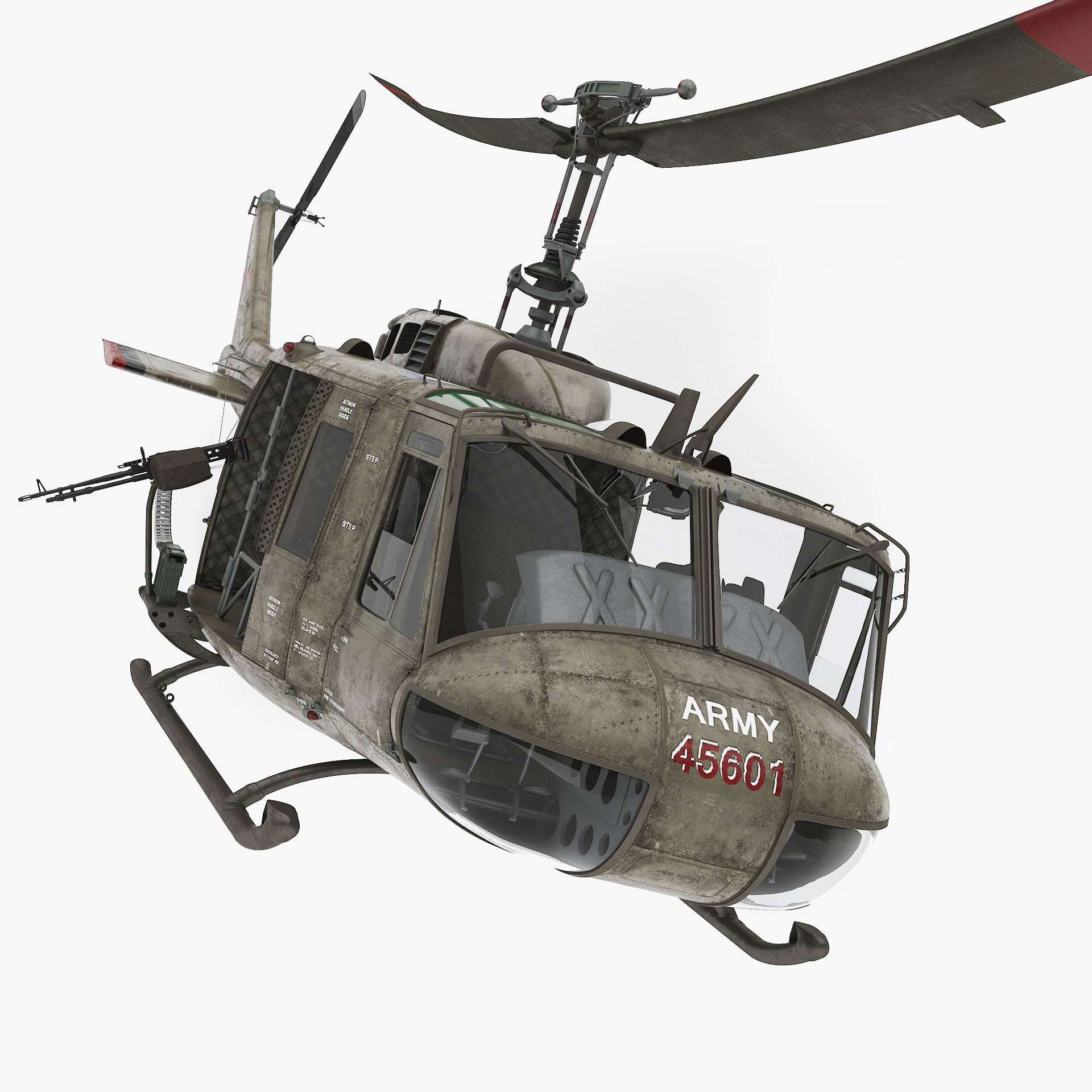 bell uh-1d iroquois military helicopter 3d model