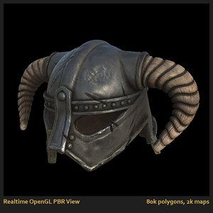 helmet barbarian iron 3d obj