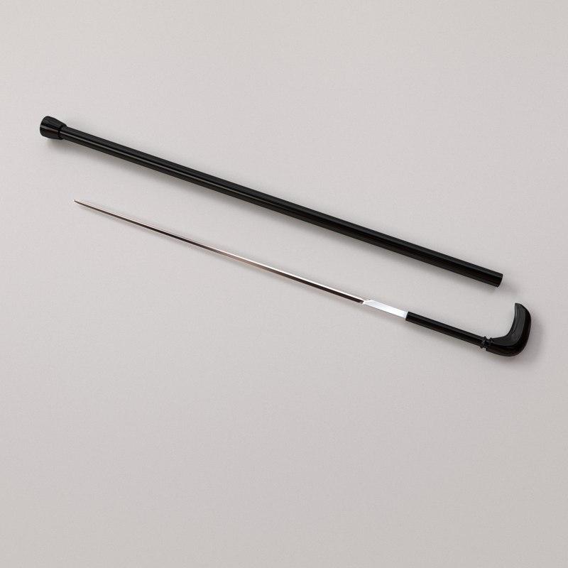 3d sword stick model