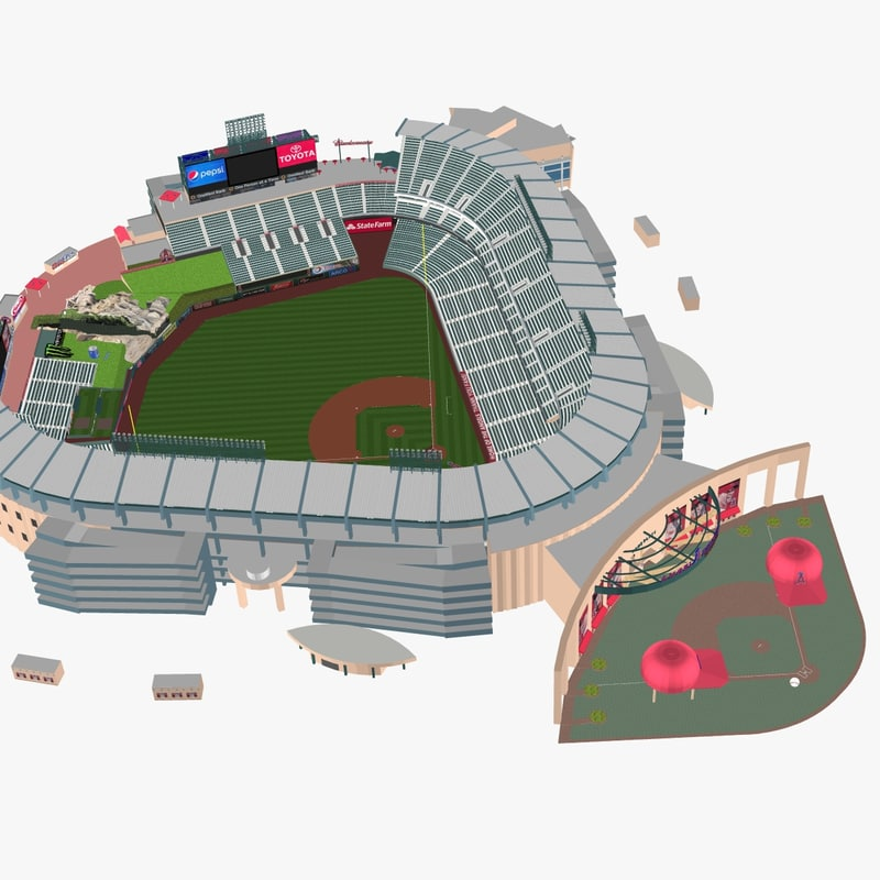 3d model angel stadium baseballs