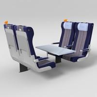 3d model train seat