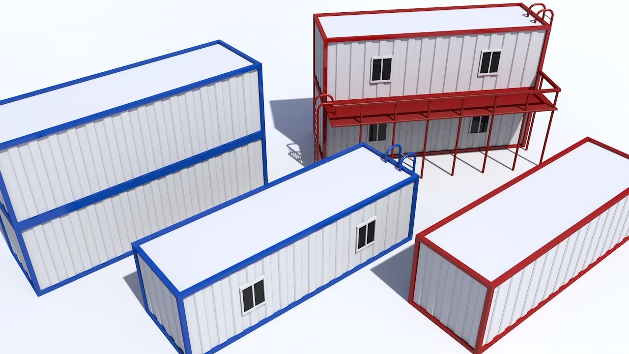 containers balcony ladders 3d 3ds