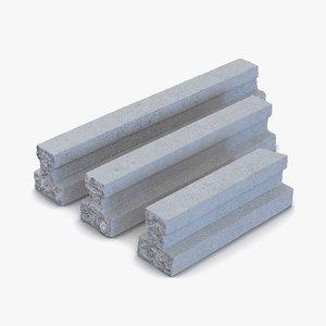 3d model concrete t-beam chunks set