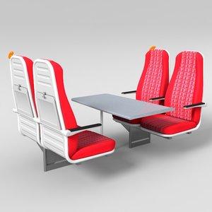 3d train seat model