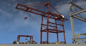 3d model container port cranes