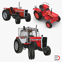 3d rigged vintage tractors