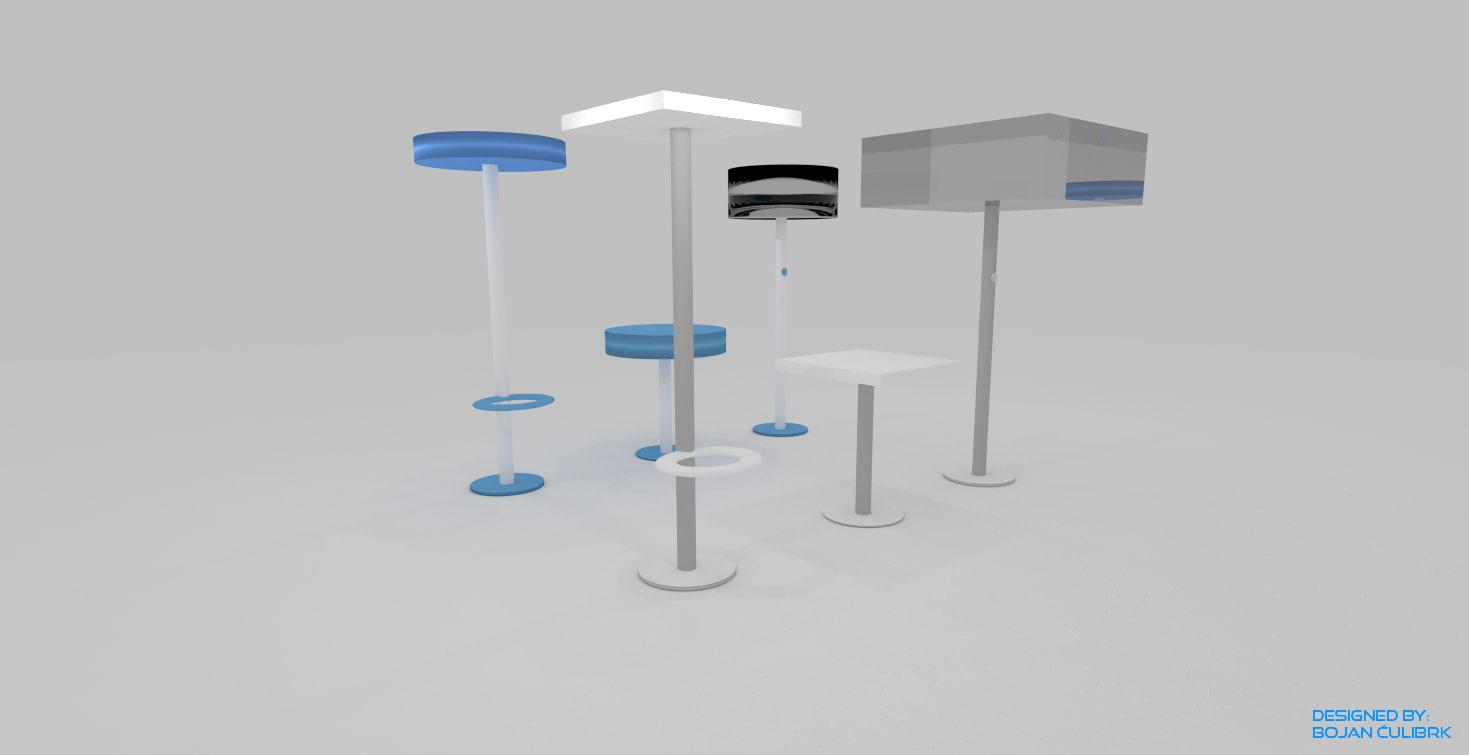 set bar stools lamps obj