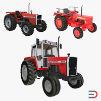 Vintage Tractors 3D Models Collection