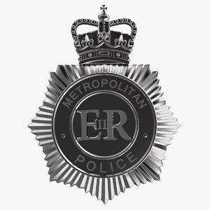 3d uk police helmet badge