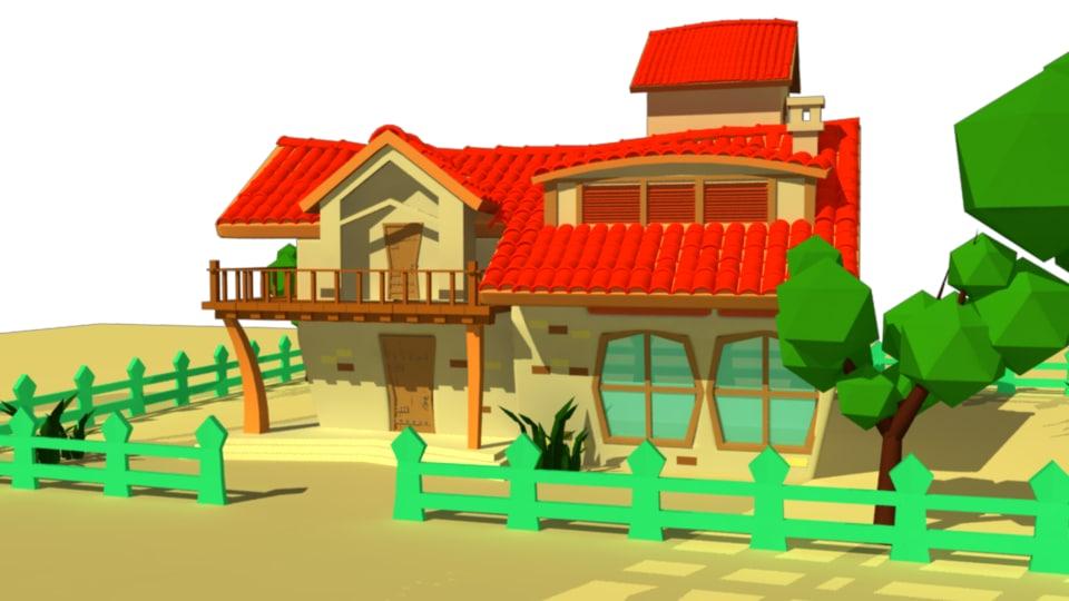 cartoon villa fbx