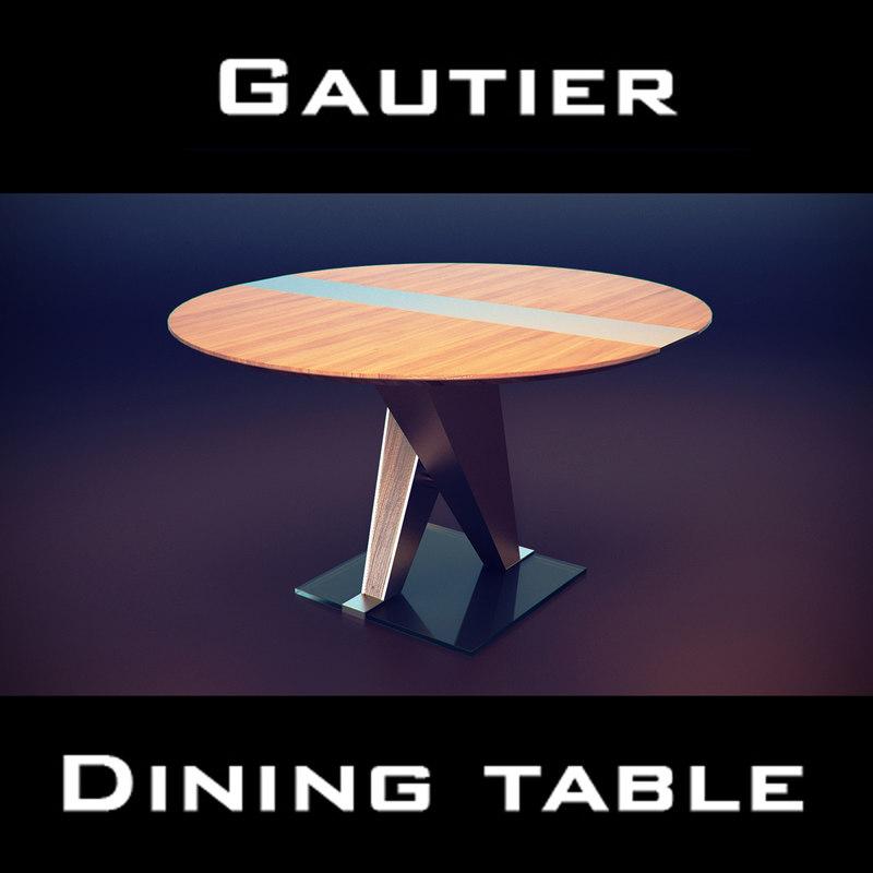 gautier setis table wood 3d model