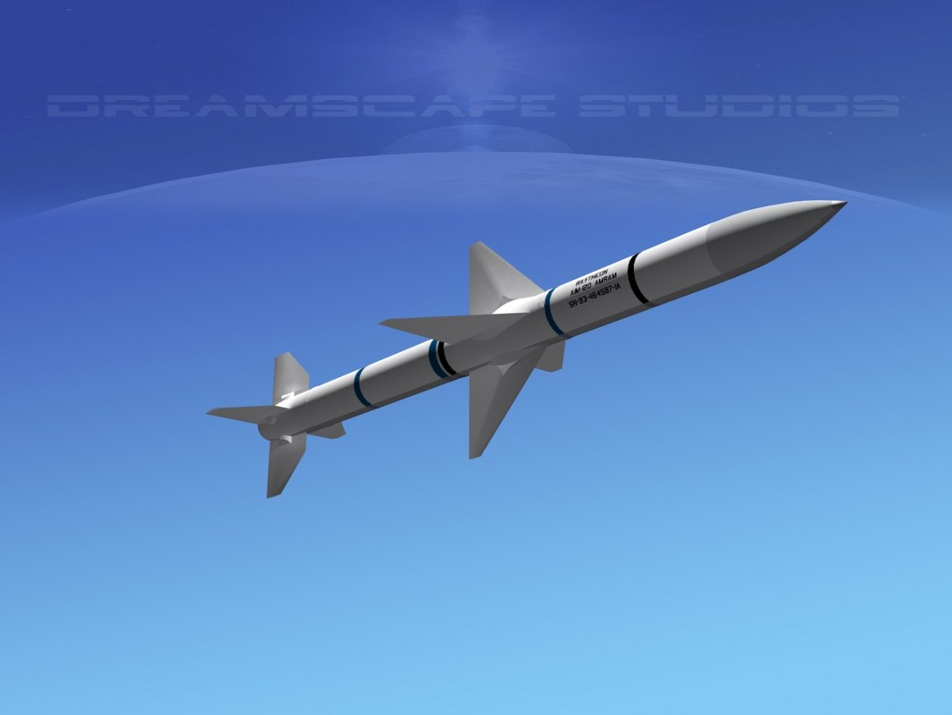 modern aim-120 air missile 3d model