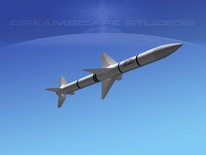 modern aim-120 air missile 3d model