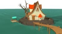 3d model cartoon island house