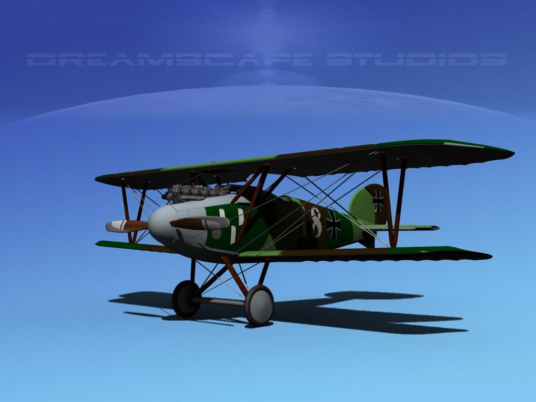 3d model of albatross fighter diii