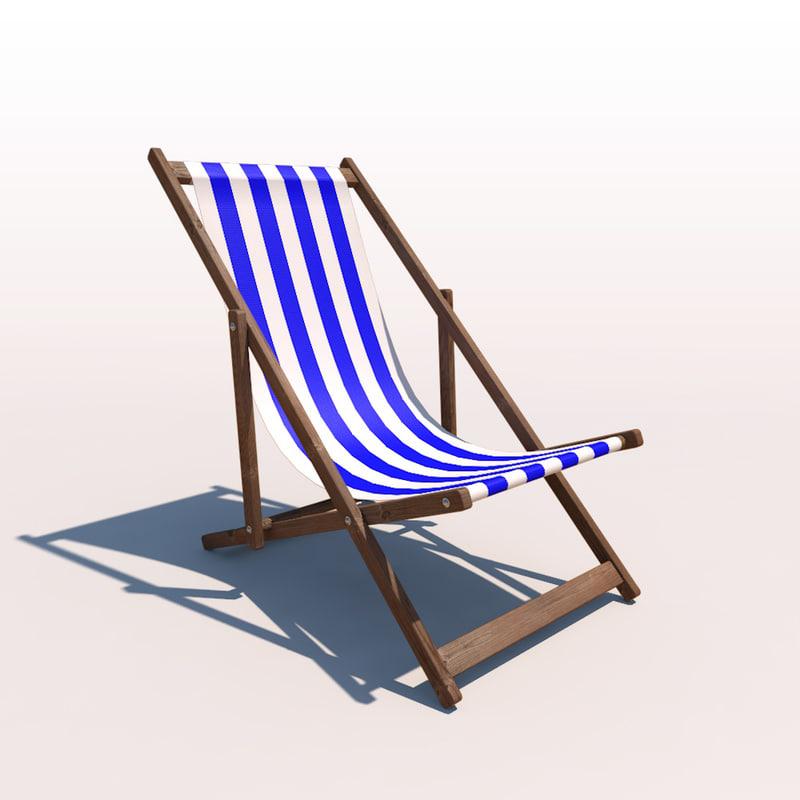 deck chair - blue 3d 3ds