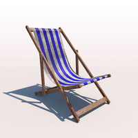 deck chair - blue 3d model