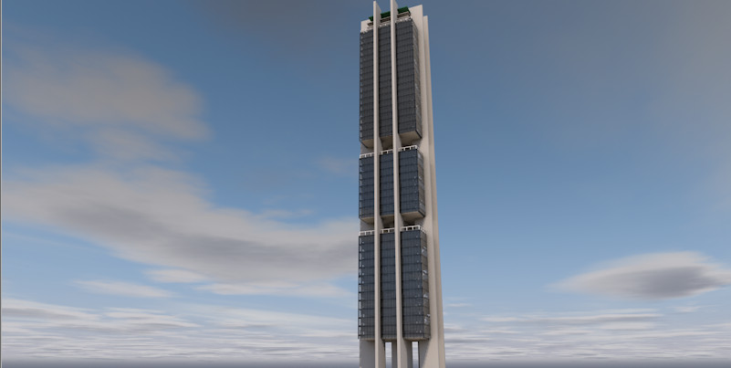 pabellon tower mty mexico 3d model