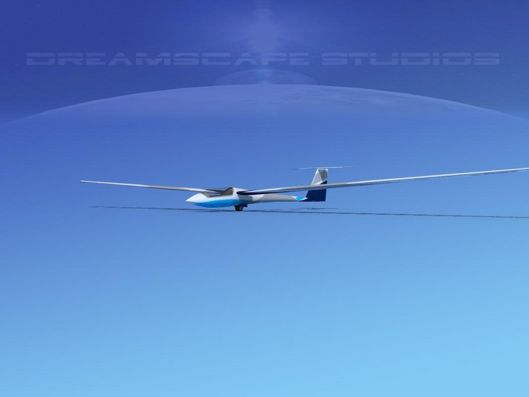 3d asw 22 sailplane model