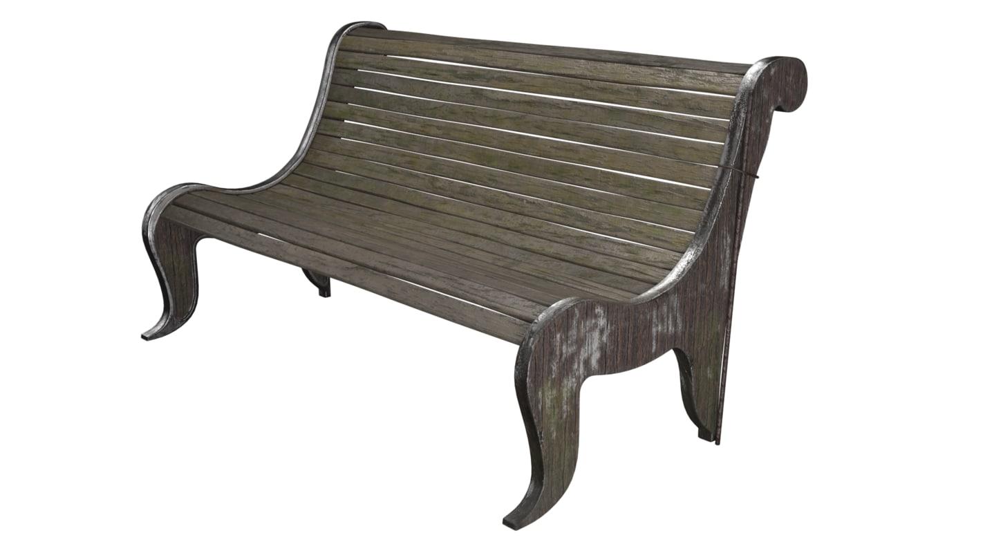 bench park realistic 3d max