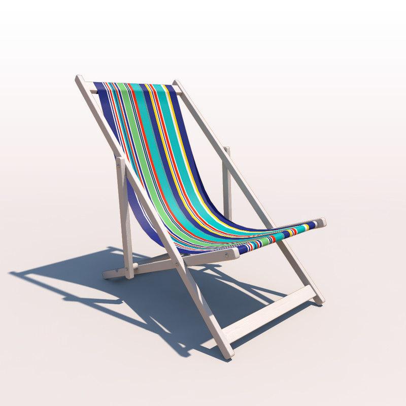 deck chair - contemporary 3d obj