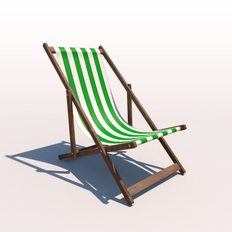 deck chair - green 3d model
