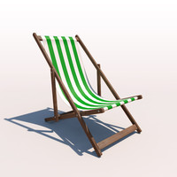 deck chair - green 3d model